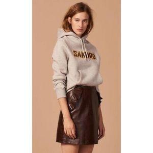 Sandro Brown Lamb Leather Eglantier Ruffle Skirt